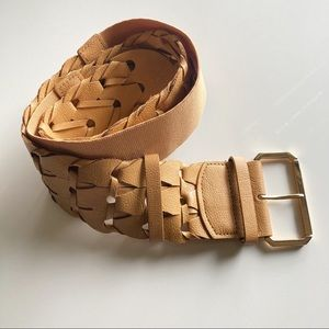 3/$20 Wide Lattice Woven Faux Leather Belt With Gold Buckle